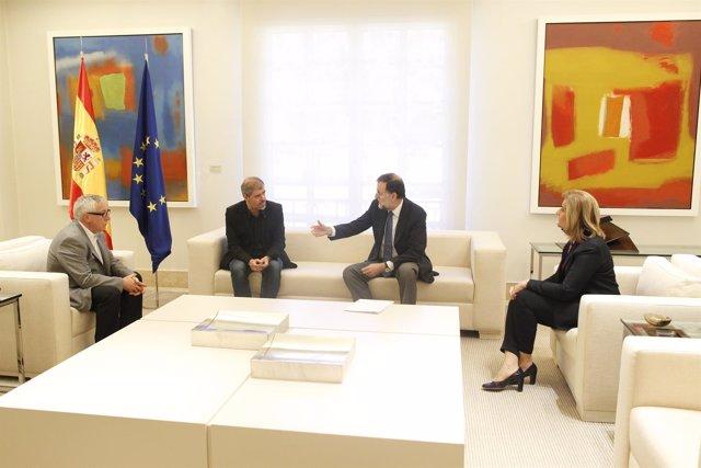 Rajoy, Fátima Báñez, Unai Sordo y Toxo en la Moncloa