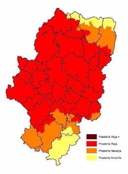 Mapa de prealertas de incendios forestales en Aragón 13 agosto 2017.