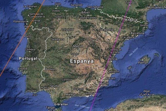 Franja de la península Ibèrica en la qual podrà veure's l'eclipsi solar parcial