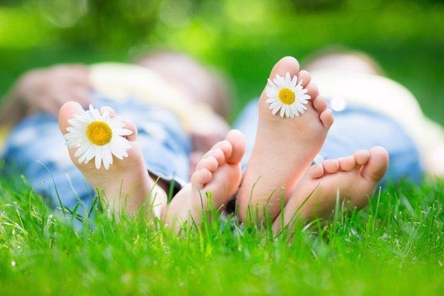 Pies, flor, verano, descanso, dormir, siesta