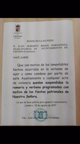 Bando del Ayuntamiento de Liendo por el que se suspenden las fiestas