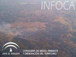 Extinguido el incendio forestal de Santa Olalla del Cala (Huelva), cuyo perímetro afecta a 374 hectáreas