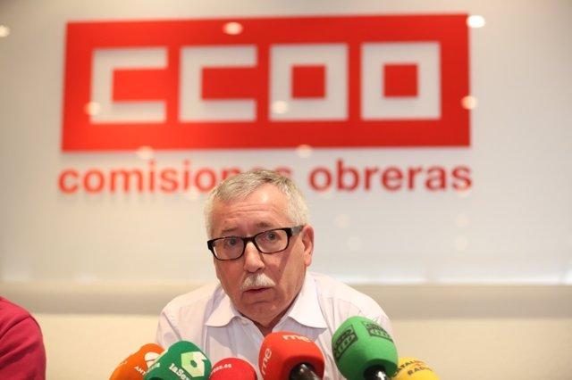 Rueda de prensa del secretario general de CC.OO., Ignacio Fernández Toxo
