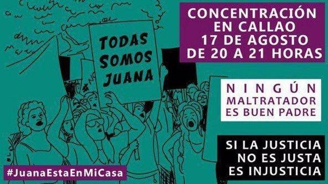 Convocatoria de la concentración en apoyo a Juana Rivas en Madrid