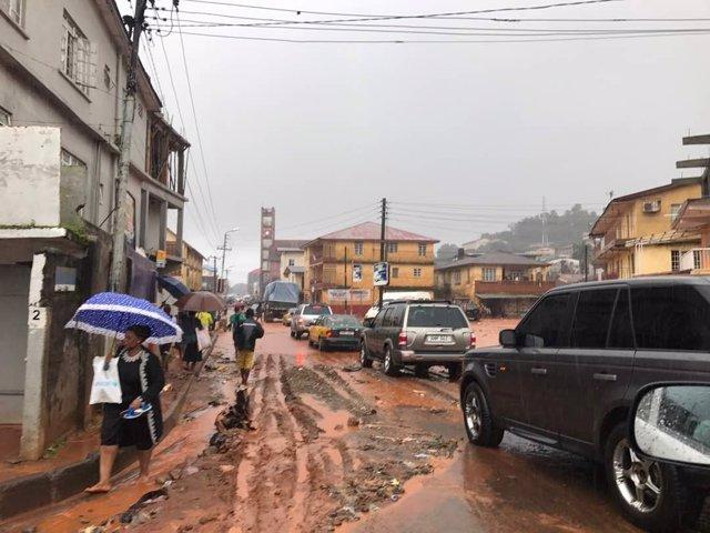 Inundaciones por las lluvias torrenciales en Freetown