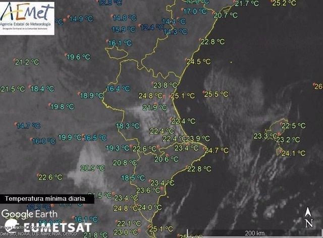 Temperaturas mínimas del miércoles al jueves en la regiónA