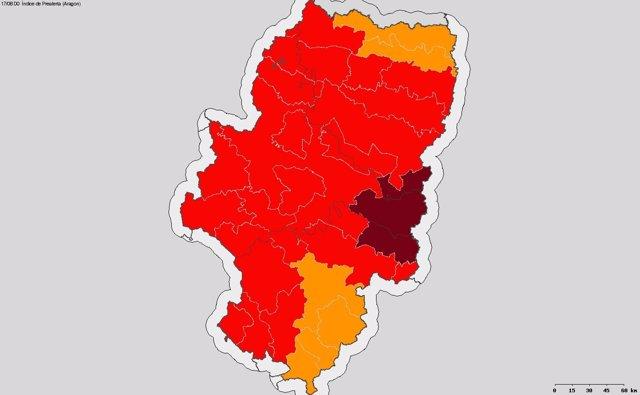 Mapa de riesgo de incendios forestales en Aragón