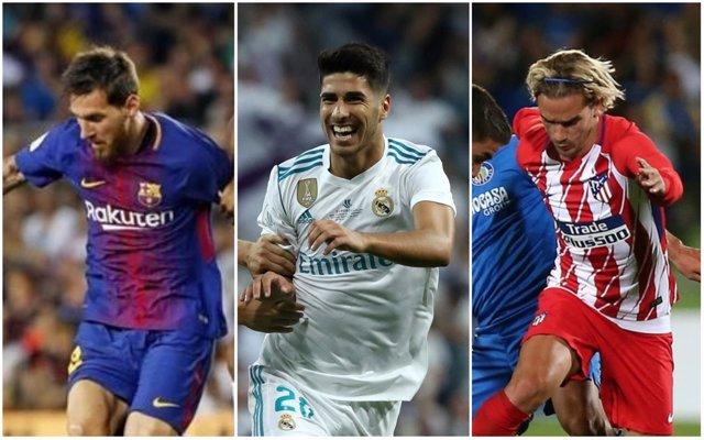 Messi, Asensio y Griezmann, aspirantes a la Liga 2017/18