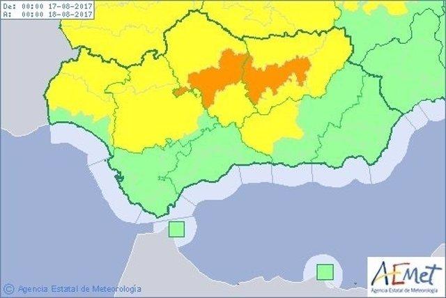 Avisos por altas temperaturas activos este viernes en Andalucía