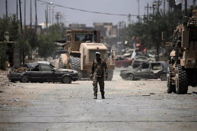 Militar iraquí en Mosul