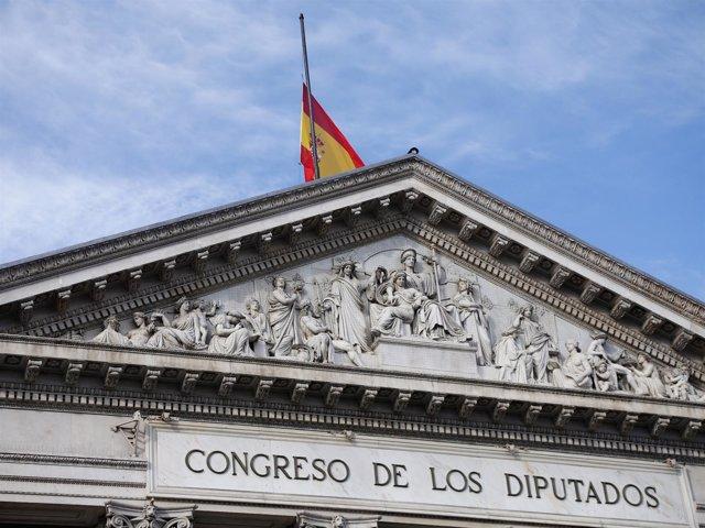 Fachada del Congreso, con la bandera a media asta