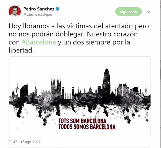 Mensaje de condena de Pedro Sánchez por el atentado de Barcelona