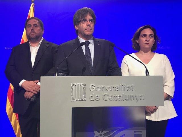 Oriol Junqueras, Carles Puigdemont y Ada Colau