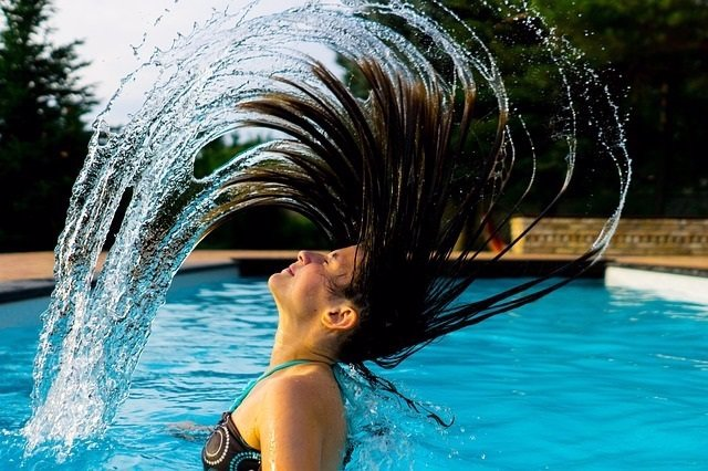 Piscina, pelo, verano, cabello, nadar
