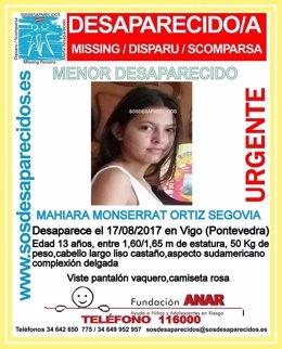 Menor desaparecida en Vigo