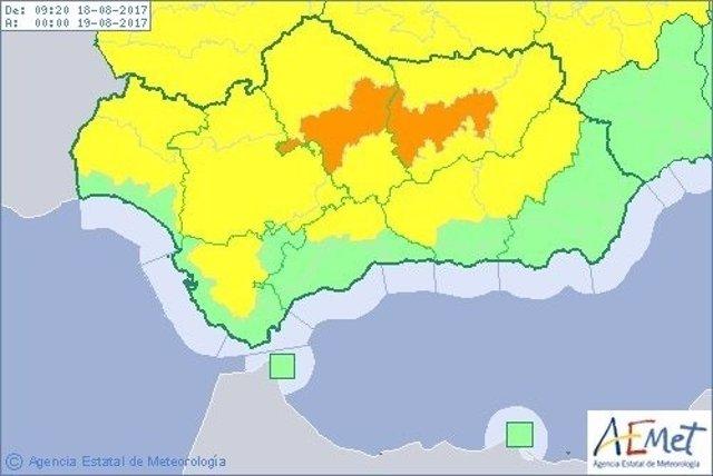 Avisos por altas temperaturas este viernes en Andalucía actualizados por AEMET