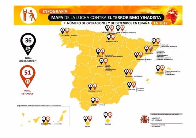 Mapa de la lucha contra el terrorismo yihadista hasta agosto de este año