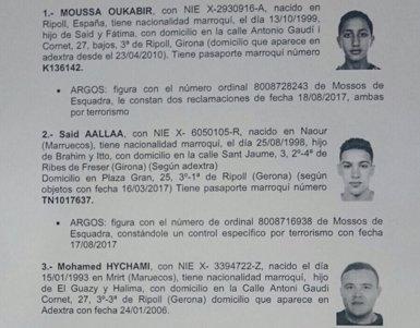 Atemptat.- La Policia busca els marroquins Said Aallaa, Mohamed Hychami, Younes Aouyaaqoub, a més de Moussa Oukabir (CEDIDA/AM)