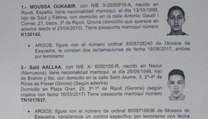 Atemptat.- La Policia busca els marroquins Said Aallaa, Mohamed Hychami, Younes Aouyaaqoub, a més de Moussa Oukabir