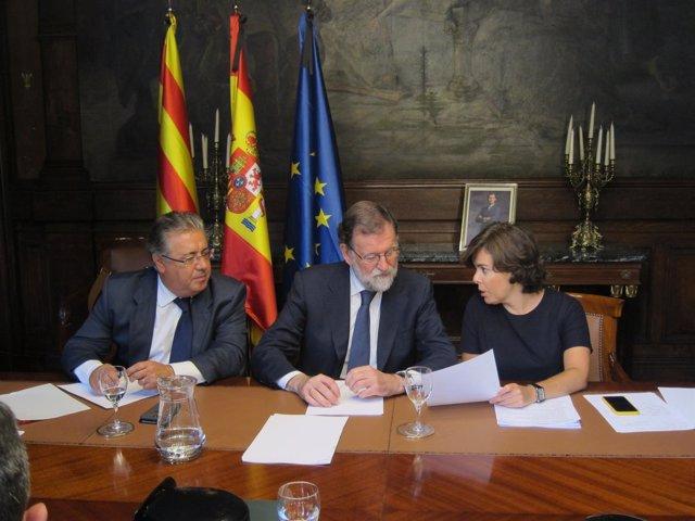 Rajoy, Sáenz de Santamaría y Zoido en Barcelona