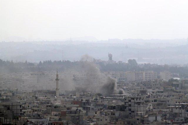 Bombardeo Sobre La Ciudad Siria De Latakia