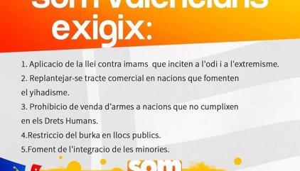 Som Valencians plantea restringir el burka en espacios públicos y limitar la venta de armas