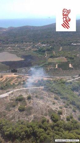 Zona afectada por el fuego