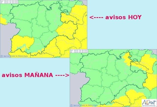 Cuadro explitativo de los avisos en Castilla y León