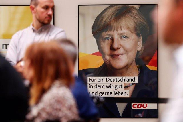 Cartel electoral de Angela Merkel