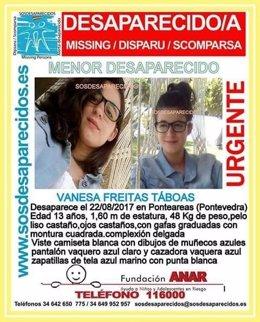 Menor desaparecida en Ponteareas (Pontevedra)