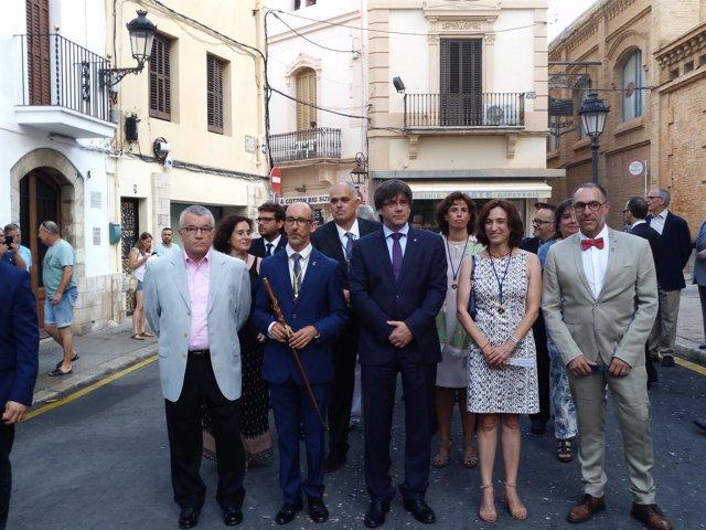 El presidente de la Generalitat, Carles Puigdemont, en la fiesta mayor de Sitges