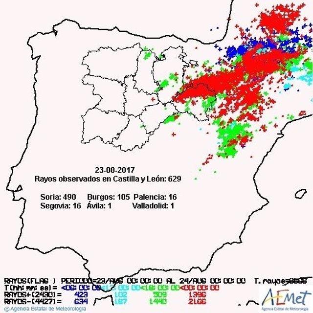 Gráfico sobre los rayos caídos en Castilla y León
