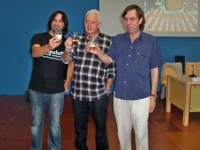 Merchán, Ruiz y Martínez en la presentación de Birragoza