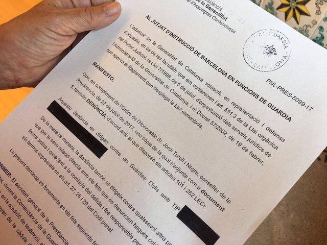 Denuncia de la Generalitat a la Guardia Civil por interrogatorios