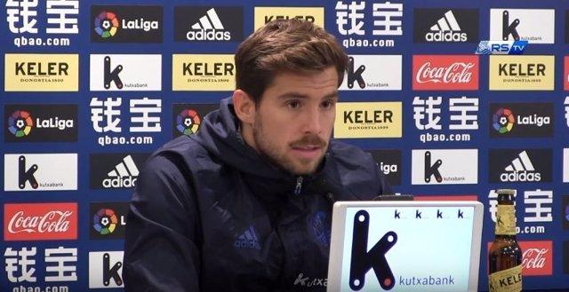 Íñigo Martínez, jugador de la Real Sociedad, en rueda de prensa