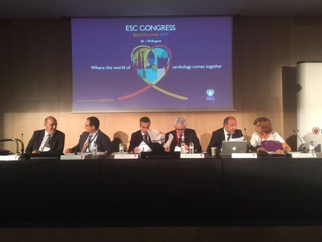 Rueda de prensa en el ESC Congress, con J.Alonso, T.Padró, F.Marín y R.Brugada