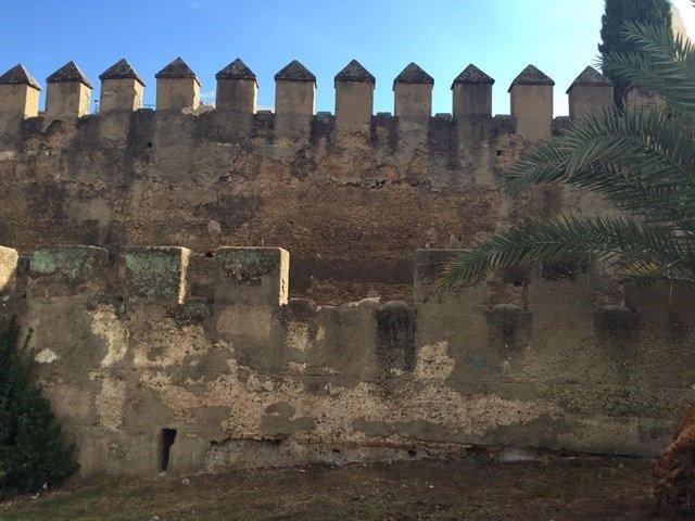 Desperfectos en la muralla de la Macarena.