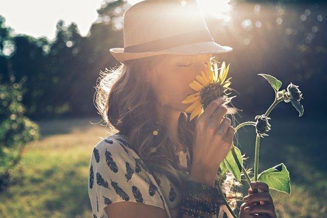 Olfato, mujer, flor, oler