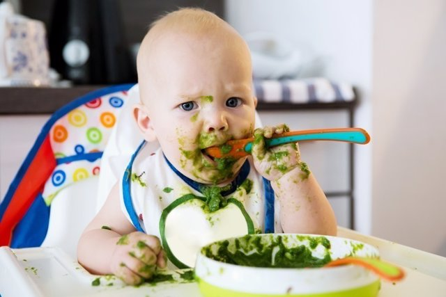 Bebé, comer, comida, alimentación.