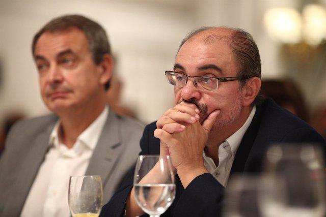 Zapatero y Lambán en el desayuno Informativo de Europa Press con Pedro Sánchez