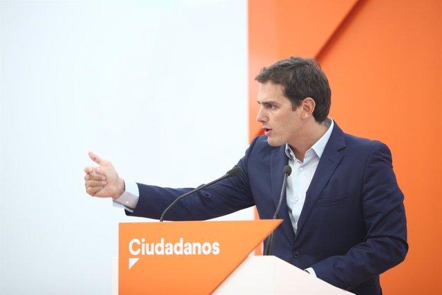 Albert Rivera interviene tras la reunión de la Ejecutiva de Ciudadanos