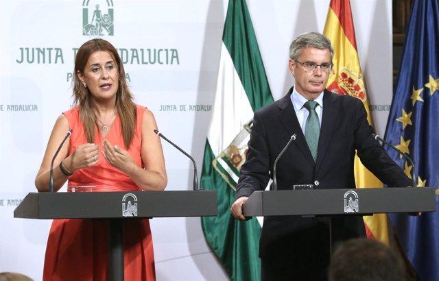 Juan Carlños Blanco y la consejera de Educación, este martes