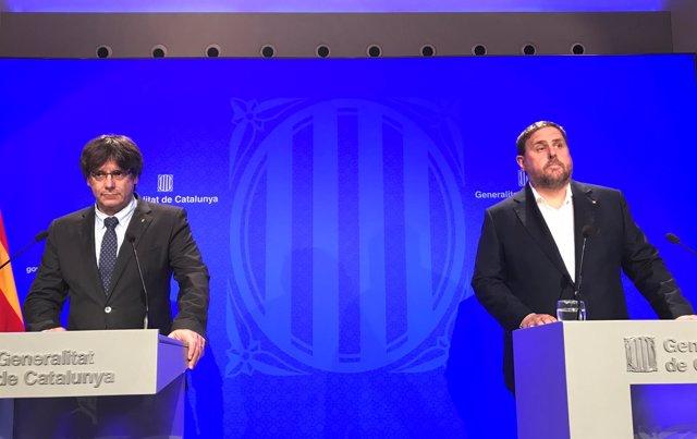 Presidente de la Generalitat Carles Puigdemont, vicepresidente Oriol Junqueras