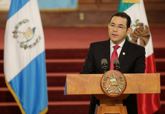 Guatemala's President Jimmy Morales holds a joint news conference with Mexico's