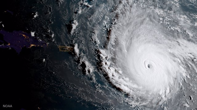 Hurricane Irma, a record Category 5 storm, is seen in this NOAA National Weather