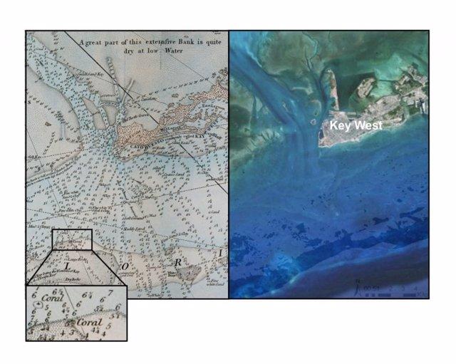 Aspecto del mapa del siglo XVIII y situación actual