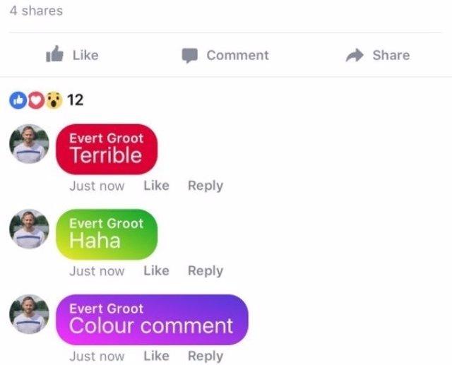 Comentarios con colores de Facebook
