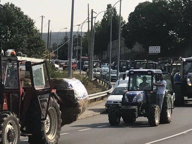 Tractorada en Viana do Bolo (Ourense)
