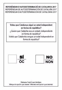 Modelo de papeleta para el referéndum del 1-O