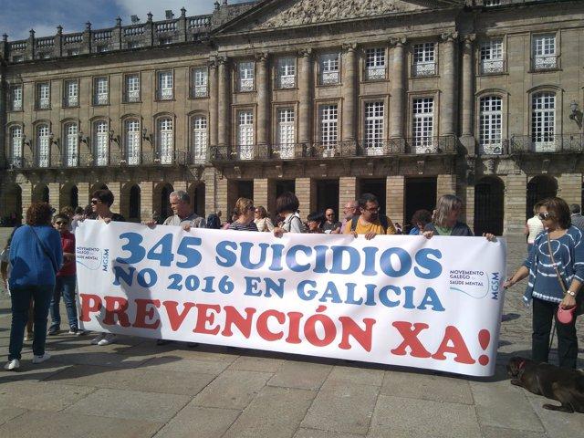 Acto del Movemento Galego da Saúde Mental en el Obradoiro